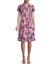 Nanette Lepore Floral-print Pintuck Dress - Pink