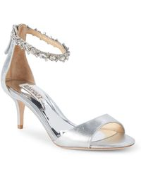 Badgley Mischka - Geranium Metallic Leather Open Toe Sandals - Lyst
