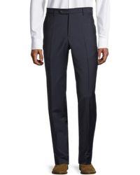 Zanella Men's Flat-front Wool Trousers - Blue - Size 34