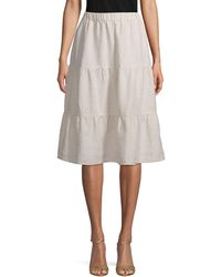 Saks Fifth Avenue Tiered Linen Knee-length Skirt - Natural