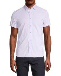 Ted Baker Men's Regular-fit Micro Dot Button-down Shirt - Purple - Size 7 (xxxl)
