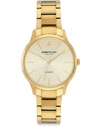 Kenneth Cole Genuine Diamond Goldtone Stainless Steel Bracelet Watch - Metallic