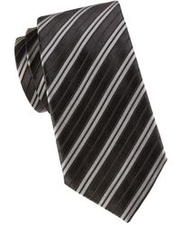 Armani Men's Striped Silk-blend Tie - Black