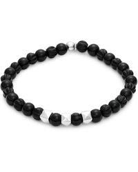 Tateossian Sterling Silver & Ebony Wood Beaded Bracelet - Black