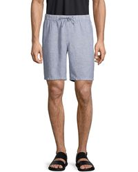 Saks Fifth Avenue Drawstring Linen Shorts - Blue