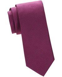 Saks Fifth Avenue Micro Neat Print Silk Tie - Blue