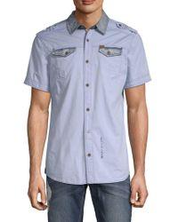 Buffalo David Bitton Sorim Cotton Button-down Shirt - Blue