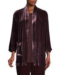 Eileen Fisher Silk Velvet Kimono Jacket - Multicolor