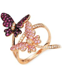 Effy 14k Rose Gold, Diamond, Ruby & Pink Sapphire Butterfly Ring - Multicolor