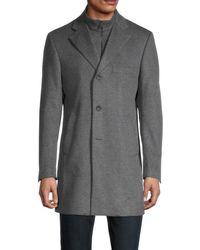 Saks Fifth Avenue Wool & Cashmere Car Coat - Grey