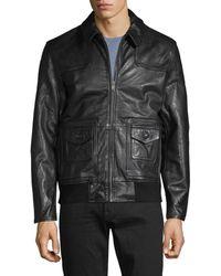 John Varvatos Men's Leather Moto Jacket - Black - Size S
