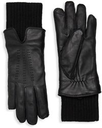 Saks Fifth Avenue Faux Fur-lined Leather Gloves - Black