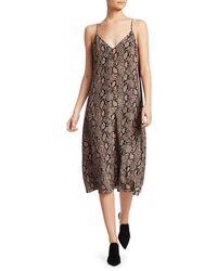 FRAME Snake Print Silk Slip Dress - Brown