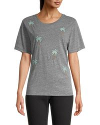 Chrldr Pine Tree-embroidery Cotton-blend Tee - Grey