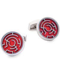 Tateossian Round Rhodium-plated Cufflinks - Red