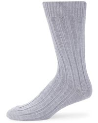 Ferragamo Men's Ribbed Crew Socks - Off White