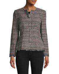 Rebecca Taylor Tweed Cotton-blend Peplum Jacket - Black