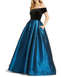 Mac Duggal Women's Off-the-shoulder Taffeta Ball Gown - Teal - Size 0 - Blue