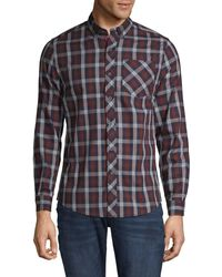Report Collection Bone Base Plaid Print Slim Fit Shirt - Blue