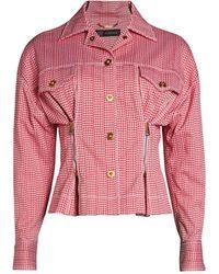 Versace Houndstooth Peplum Jacket - Red