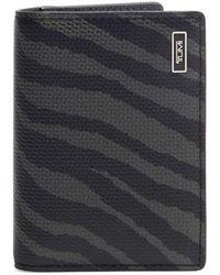 Tumi Men's Tiger-print Leather Folding Card Case - Black Tiger