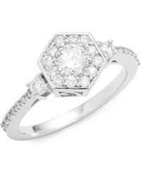 Effy - Diamond & 14k White Gold Floral Ring - Lyst