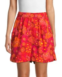 Free People Floral Cotton Shorts - Red