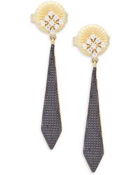 Freida Rothman - Crystal And Sterling Silver Pavé Armour Drop Earrings - Lyst