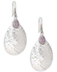 John Hardy - Sterling Silver Pink Sapphire Hammered Pendant Drop Earrings - Lyst