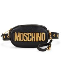 Moschino Logo Leather Belt Bag - Black