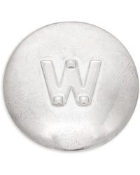 Valentino Silvertone Initial Circle Pin - Metallic