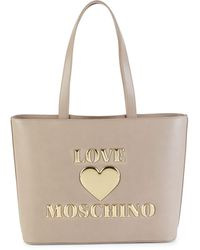 Love Moschino Faux Leather Tote - Gray