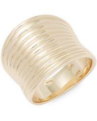 Saks Fifth Avenue - 14k Yellow Gold Wide Ribbed Band Ring - Lyst