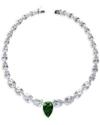 CZ by Kenneth Jay Lane Rhodium-plated & Crystal Graduated Statement Pear Necklace - Multicolour