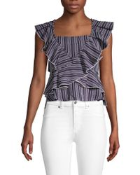 English Factory - Striped Ruffle Top - Lyst