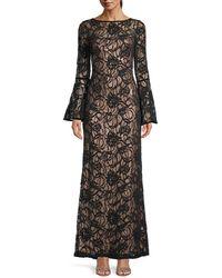 Tadashi Shoji Women's Bell-sleeve Lace Gown - Black Copper - Size 0