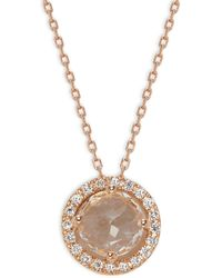 Suzanne Kalan 18k Rose Gold, Topaz & Diamond Pendant Necklace - Metallic