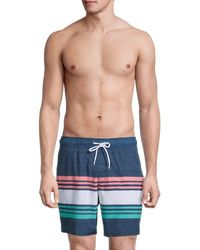 Sperry Top-Sider Men's Striped Volley Swim Shorts - Navy - Size L - Blue