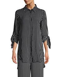 Beatrice B. Tie-sleeve Striped Blouse - Black