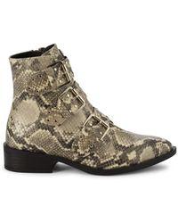 Steven New York Women's Harmon Snakeskin-print Synthetic Booties - Natural - Size 6