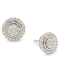 Saks Fifth Avenue 14k White Gold & 0.68 Tcw Diamond Stud Earrings - Metallic