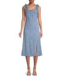 Lea & Viola Women's Ditsy Floral Midi Dress - Floral - Size S - Blue