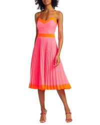 MILLY Women's Pleated GG Midi Dress - Neon Pink - Size 2