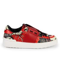 Valentino Graphic Leather Trainers - Blue