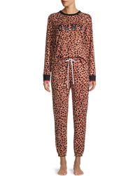 DKNY 2-piece Leopard Pajama Set - Red
