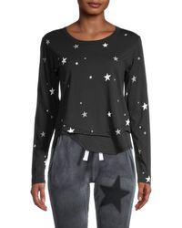 Chrldr Star-print Long-sleeve Pima Cotton Top - Black