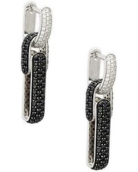 Roberto Coin - 18k White Gold, Black Sapphire & Diamond Drop Earrings - Lyst