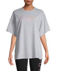 DKNY Women's Ombré Logo T-shirt - Pearl - Size S - Grey