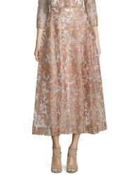 Marchesa notte Embroidered Tea-length Skirt - Natural