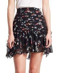 Tanya Taylor Abby Floral Silk Skirt - Red